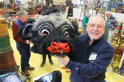 IMG_8924 John Bourne, of John Bourne Antiques,,of pittsford vt, with a paper mache bull costume that he found in northern vt