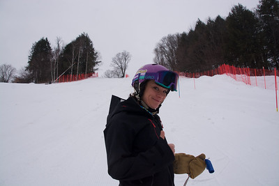Stephanie Abrell, S6 Ski Coach, helping with the course
