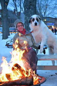 DSC_3719 Dr  Marie Casiere, and her dog Clooney,,by the fire