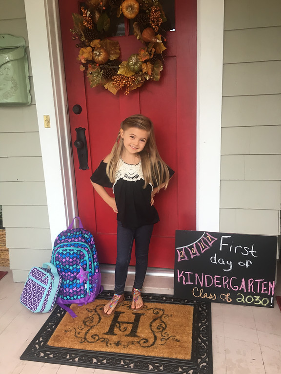 . Picture Courtesy Ashley Howard Alexis Howard gets ready for Kindergarten on Sept 7, 2017.