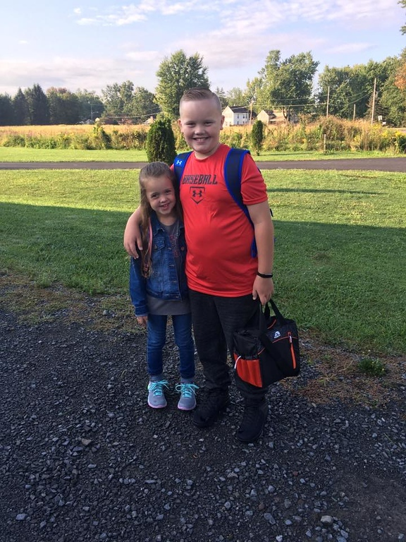. Photo Courtesy Kimberly Pawlikowski Caleb and Kali Zydzik starting sixth and first grade on Thursday, Sept. 7, 2017.