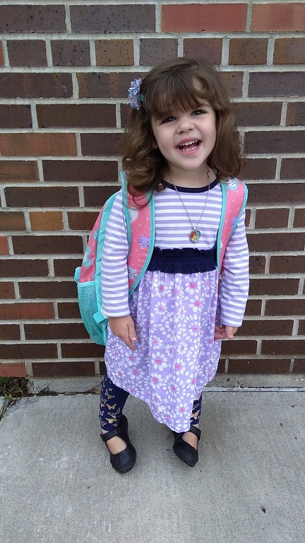 . Photo Courtesy Sarah Finnerty Rosalie Finnerty starts Pre-K at Willard Prior Elementary in Oneida on Thursday, Sept. 7, 2017.
