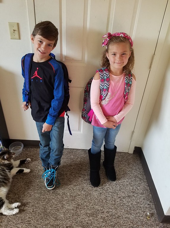 . Photo Courtesy Jessica Smith Peyton Smith, second grade, and Landon Haitian, third grade. get ready for the first day of school in Canastota on Thursday, Sept. 7, 2017.
