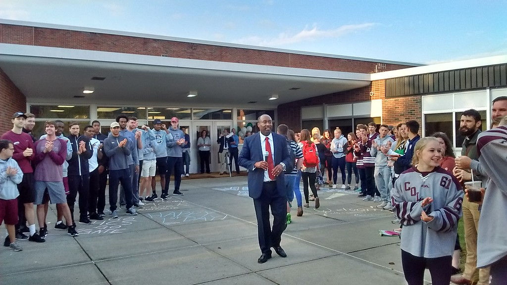 . Photo Special to the Dispatch by Jon Paul Dauval Students receive an enthusiastic welcome from the faculty and staff at Hamilton Central School on Thursday, Sept. 7, 2017.