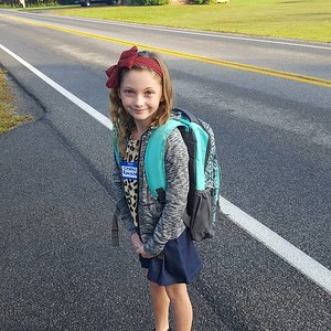 Photo Courtesy Josh Rauscher Chelsi Rauscher is very excited and ready for day one of second grade at Southside Elementary in Canastota.