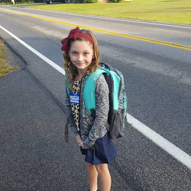 . Photo Courtesy Josh Rauscher Chelsi Rauscher is very excited and ready for day one of second grade at Southside Elementary in Canastota.