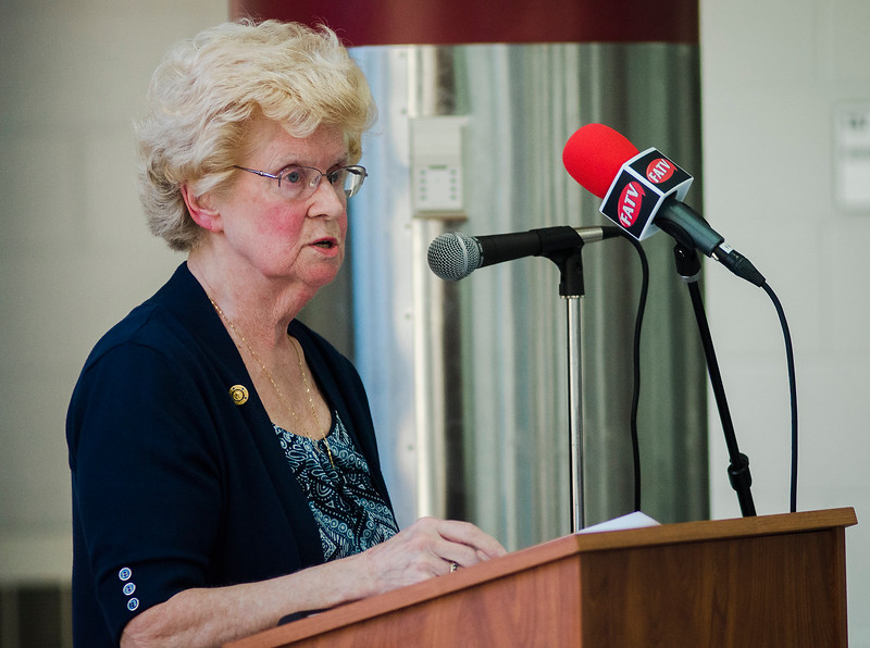 Chairman Mary Whitney speaks during the annual Fitchburg Rotary Awards Dinner at FHS on Tuesday, May 16, 2017. SENTINEL & ENTERPRISE / Ashley Green