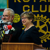 Supt. of Diocese Schools Dr. Delma Josephson presents St. Bernard's Principal Robert Blanchard with an award during the annual Fitchburg Rotary Awards Dinner at FHS on Tuesday, May 16, 2017. SENTINEL & ENTERPRISE / Ashley Green