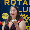 Fitchburg High band director Tabitha Greenlees accepts an award during the annual Fitchburg Rotary Awards Dinner at FHS on Tuesday, May 16, 2017. SENTINEL & ENTERPRISE / Ashley Green