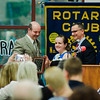 Longsjo Middle School Principal Craig Chalifoux presents Rebecca Colo with an award during the annual Fitchburg Rotary Awards Dinner at FHS on Tuesday, May 16, 2017. SENTINEL & ENTERPRISE / Ashley Green