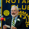 Supt. of Diocese Schools Dr. Delma Josephson presents St. Bernard's Principal Robert Blanchard (pictured) with an award during the annual Fitchburg Rotary Awards Dinner at FHS on Tuesday, May 16, 2017. SENTINEL & ENTERPRISE / Ashley Green
