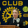 Fitchburg Police Officer Shelbie Hertel accepts an award during the annual Fitchburg Rotary Awards Dinner at FHS on Tuesday, May 16, 2017. SENTINEL & ENTERPRISE / Ashley Green