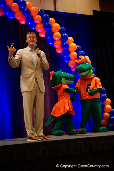 University of Florida athletic director Scott Strickland as the University of Florida Gators host a pep rally at the Omni Hotel the night before the Gators take on the Michigan Wolverines in the 2017 Advocare Classic. September 1st, 2017.  Gator Country photo by David Bowie.