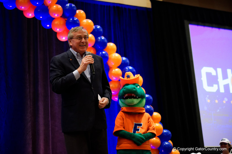 University of Florida president Kent Fuchs speaks to the crowd as the University of Florida Gators host a pep rally at the Omni Hotel the night before the Gators take on the Michigan Wolverines in the 2017 Advocare Classic. September 1st, 2017.  Gator Country photo by David Bowie.