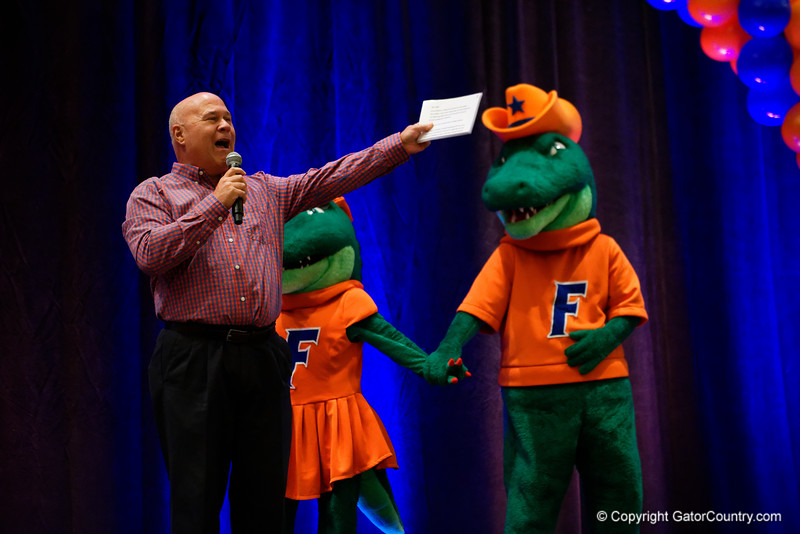 The voice of the Florida Gators, Mick Hubert as the University of Florida Gators host a pep rally at the Omni Hotel the night before the Gators take on the Michigan Wolverines in the 2017 Advocare Classic. September 1st, 2017.  Gator Country photo by David Bowie.
