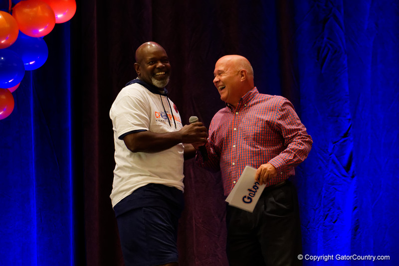 Former Florida Gator and NFL Hall of Famer, Emmitt Smith, as the University of Florida Gators host a pep rally at the Omni Hotel the night before the Gators take on the Michigan Wolverines in the 2017 Advocare Classic. September 1st, 2017.  Gator Country photo by David Bowie.