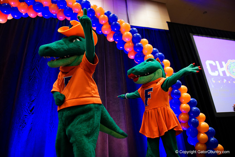 Albert and Alberta as the University of Florida Gators host a pep rally at the Omni Hotel the night before the Gators take on the Michigan Wolverines in the 2017 Advocare Classic. September 1st, 2017.  Gator Country photo by David Bowie.
