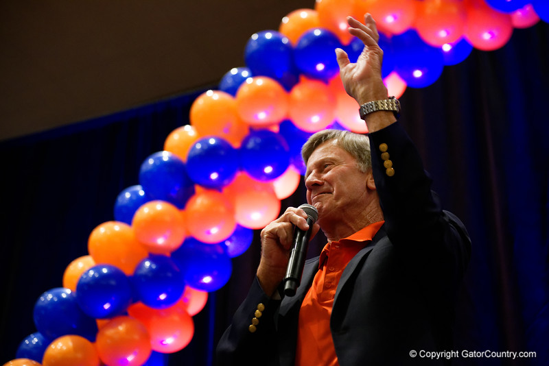 Steve Spurrier as the University of Florida Gators host a pep rally at the Omni Hotel the night before the Gators take on the Michigan Wolverines in the 2017 Advocare Classic. September 1st, 2017.  Gator Country photo by David Bowie.