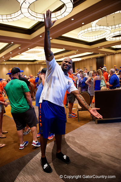 Former Florida Gators football player, Brandon Siler,as the University of Florida Gators host a pep rally at the Omni Hotel the night before the Gators take on the Michigan Wolverines in the 2017 Advocare Classic. September 1st, 2017.  Gator Country photo by David Bowie.