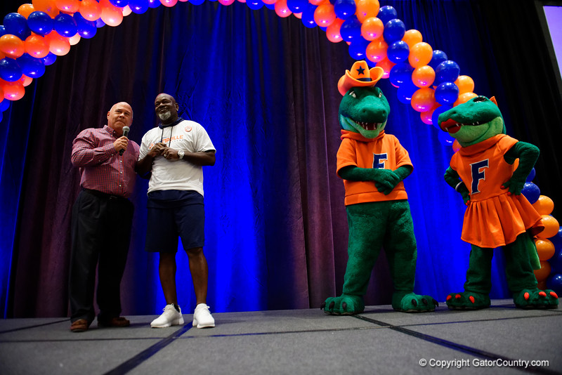 Former Florida Gator and NFL Hall of Famer, Emmitt Smith and voice of the Gators, Mick Hubert, as the University of Florida Gators host a pep rally at the Omni Hotel the night before the Gators take on the Michigan Wolverines in the 2017 Advocare Classic. September 1st, 2017.  Gator Country photo by David Bowie.