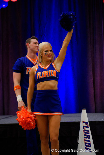 The University of Florida Gators cheerleaders perform as the University of Florida Gators host a pep rally at the Omni Hotel the night before the Gators take on the Michigan Wolverines in the 2017 Advocare Classic. September 1st, 2017.  Gator Country photo by David Bowie.