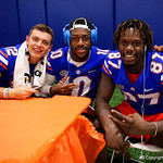 University of Florida Gators quarterback Jake Allen,University of Florida Gators wide receiver Josh Hammond and University of Florida Gators tight end Kalif Jackson as the Gators hold their annual fan day, signing autographs and mingling with the fans.  August 19th, 2017.  Gator Country photo by David Bowie.