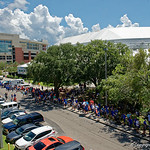 Florida Gator fans wait in line to be let into the Indoor Practice Facility as the Gators hold their annual fan day, signing autographs and mingling with the fans.  August 19th, 2017.  Gator Country photo by David Bowie.