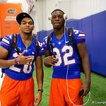 University of Florida Gators running back Malik Davis and University of Florida Gators running back Adarius Lemons as the Gators hold their annual fan day, signing autographs and mingling with the fans.  August 19th, 2017.  Gator Country photo by David Bowie.