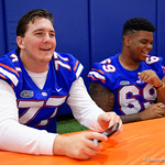 University of Florida Gators offensive lineman Andrew Mike as the Gators hold their annual fan day, signing autographs and mingling with the fans.  August 19th, 2017.  Gator Country photo by David Bowie.