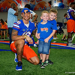 University of Florida Gators wide receiver Freddie Swain poses for a photo with a couple young Gators fans as the Gators hold their annual fan day, signing autographs and mingling with the fans.  August 19th, 2017.  Gator Country photo by David Bowie.