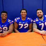 University of Florida Gators offensive lineman Marcus Givens,University of Florida Gators offensive lineman Stone Forsythe and University of Florida Gators offensive lineman Ricardo Benalcazar as the Gators hold their annual fan day, signing autographs and mingling with the fans.  August 19th, 2017.  Gator Country photo by David Bowie.