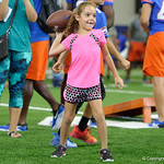 A young Florida Gators fan throwing a football as the Gators hold their annual fan day, signing autographs and mingling with the fans.  August 19th, 2017.  Gator Country photo by David Bowie.