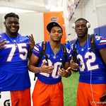 University of Florida Gators offensive lineman T.J. Moore,University of Florida Gators running back Malik Davis and University of Florida Gators running back Adarius Lemons as the Gators hold their annual fan day, signing autographs and mingling with the fans.  August 19th, 2017.  Gator Country photo by David Bowie.