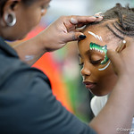 A young Florida Gators fan gets her face painted as the Gators hold their annual fan day, signing autographs and mingling with the fans.  August 19th, 2017.  Gator Country photo by David Bowie.