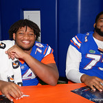 University of Florida Gators offensive lineman Fred Johnson and University of Florida Gators offensive lineman Martez Ivey as the Gators hold their annual fan day, signing autographs and mingling with the fans.  August 19th, 2017.  Gator Country photo by David Bowie.