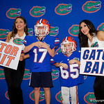 Florida Gators Fans take photos with the Dazzlers as the Gators hold their annual fan day, signing autographs and mingling with the fans.  August 19th, 2017.  Gator Country photo by David Bowie.