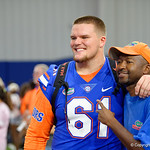 University of Florida Gators offensive lineman Brett Heggie as the Gators hold their annual fan day, signing autographs and mingling with the fans.  August 19th, 2017.  Gator Country photo by David Bowie.