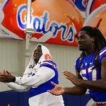 University of Florida Gators defensive end Elijah Conliffe and University of Florida Gators defensive lineman Tedarrell Slaton as the Gators hold their annual fan day, signing autographs and mingling with the fans.  August 19th, 2017.  Gator Country photo by David Bowie.