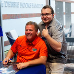 University of Florida Gators head coach Jim McElwain as the Gators hold their annual fan day, signing autographs and mingling with the fans.  August 19th, 2017.  Gator Country photo by David Bowie.