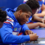 University of Florida Gators linebacker Jahim Lawrence as the Gators hold their annual fan day, signing autographs and mingling with the fans.  August 19th, 2017.  Gator Country photo by David Bowie.