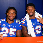 University of Florida Gators running back Jordan Scarlett and University of Florida Gators running back Lamical Perine as the Gators hold their annual fan day, signing autographs and mingling with the fans.  August 19th, 2017.  Gator Country photo by David Bowie.