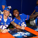 University of Florida Gators wide receiver Freddie Swain and University of Florida Gators quarterback Malik Zaire as the Gators hold their annual fan day, signing autographs and mingling with the fans.  August 19th, 2017.  Gator Country photo by David Bowie.