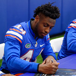 University of Florida Gators linebacker Rayshad Jackson as the Gators hold their annual fan day, signing autographs and mingling with the fans.  August 19th, 2017.  Gator Country photo by David Bowie.