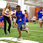 A young Florida Gators fan runs through an obstacle course as the Gators hold their annual fan day, signing autographs and mingling with the fans.  August 19th, 2017.  Gator Country photo by David Bowie.