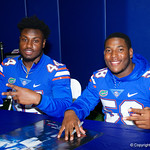 University of Florida Gators linebacker Rayshad Jackson and University of Florida Gators linebacker Jahim Lawrence as the Gators hold their annual fan day, signing autographs and mingling with the fans.  August 19th, 2017.  Gator Country photo by David Bowie.