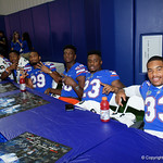 University of Florida Gators linebacker David Reese,University of Florida Gators defensive back Chauncey Gardner, Jr.,University of Florida Gators linebacker Jeremiah Moon,University of Florida Gators wide receiver Dre Massey,University of Florida Gators defensive back McArthur Burnett and University of Florida Gators defensive back Joseph Putu as the Gators hold their annual fan day, signing autographs and mingling with the fans.  August 19th, 2017.  Gator Country photo by David Bowie.