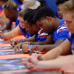 University of Florida Gators running back Lamical Perine as the Gators hold their annual fan day, signing autographs and mingling with the fans.  August 19th, 2017.  Gator Country photo by David Bowie.