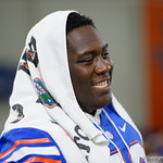 University of Florida Gators defensive lineman Tedarrell Slaton as the Gators hold their annual fan day, signing autographs and mingling with the fans.  August 19th, 2017.  Gator Country photo by David Bowie.
