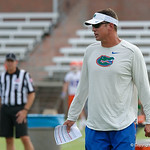 Florida Gators Offensive Coordinator/Quarterbacks coach Doug Nussmeier as the Gators run through practice drills during the Gators second fall practice of the 2017 season.  August 4th, 2017.  Gator Country photo by David Bowie.