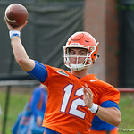 Florida Gators quarterback Jake Allen throwing as the Gators run through practice drills during the Gators second fall practice of the 2017 season.  August 4th, 2017.  Gator Country photo by David Bowie.